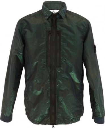 Stone Island Nylon Metal Overshirt In Dark Green