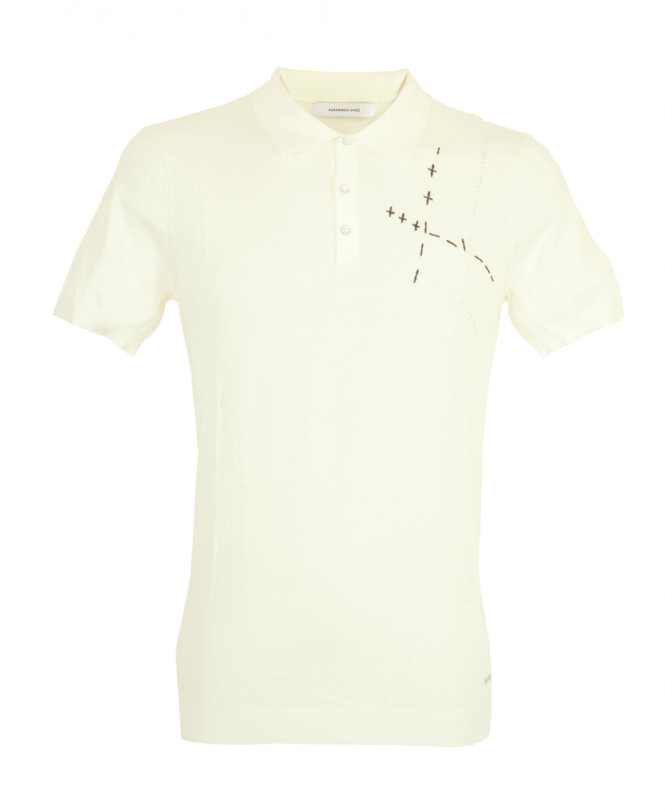 528246fc6 Off White Long Sleeve Cross Stitch Polo Shirt