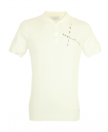 Off White Long Sleeve Cross Stitch Polo Shirt