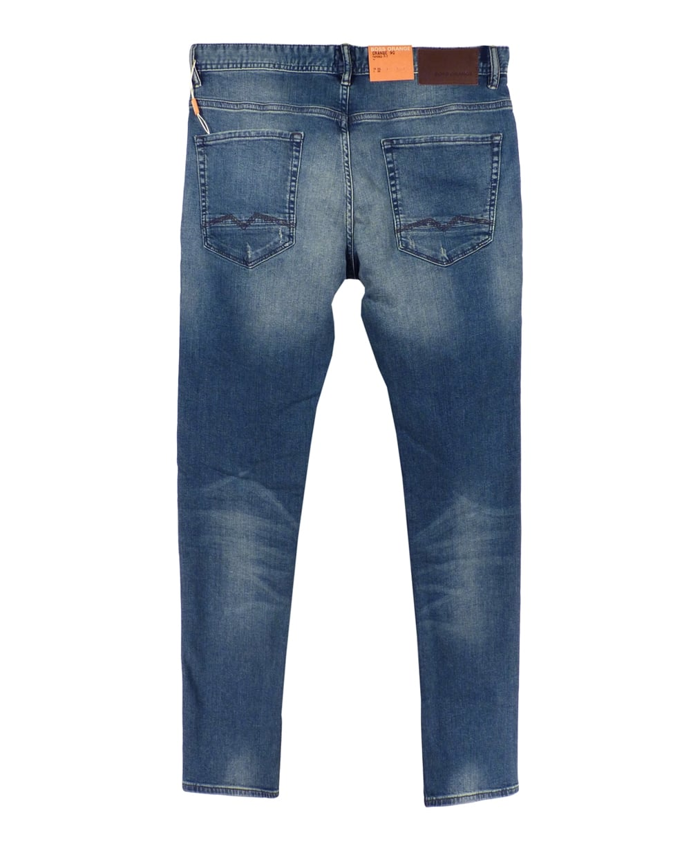 hugo boss 39 orange 90 39 tapered fit jeans in mid blue hugo boss from jonathan trumbull uk. Black Bedroom Furniture Sets. Home Design Ideas