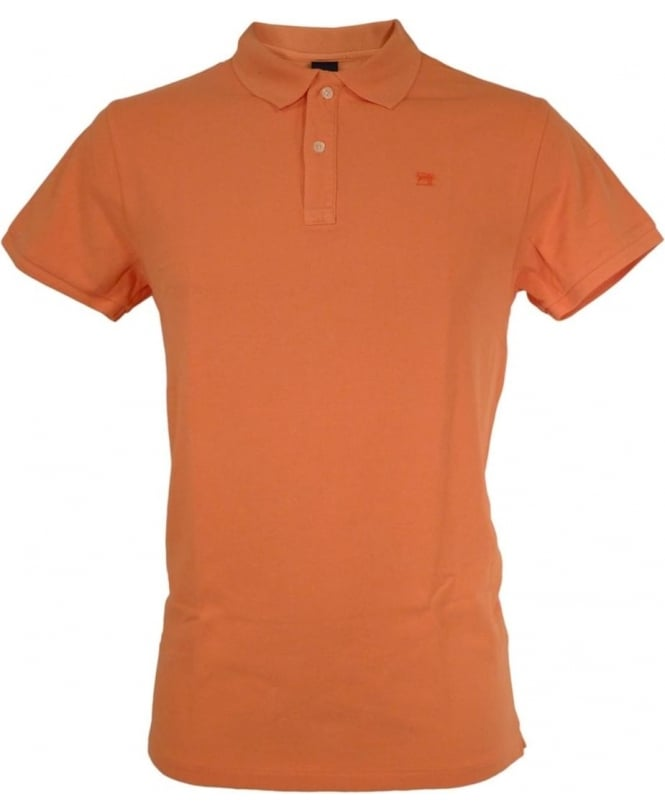 Scotch & Soda Orange Dyed Logo Polo Shirt