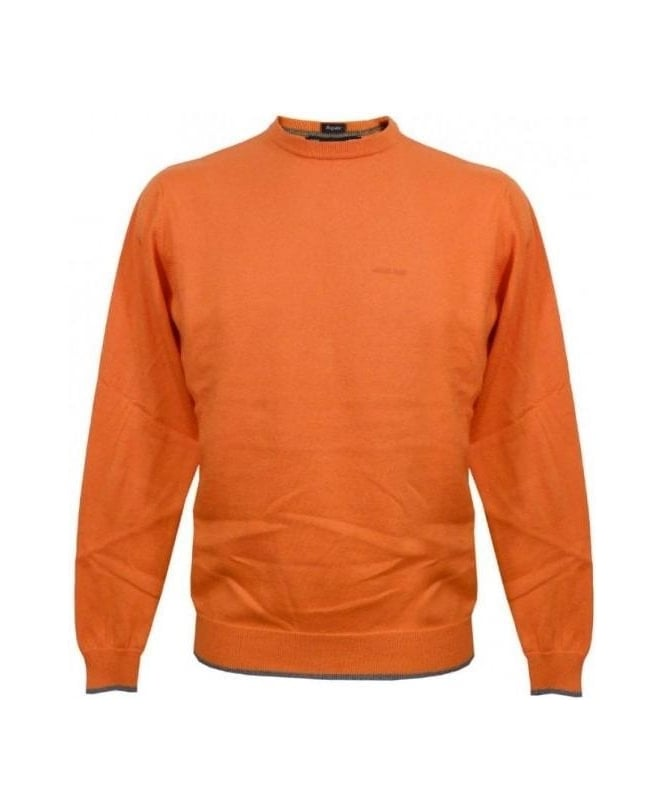 Armani Jeans Orange Knit With Grey Elbow Patches U6W83