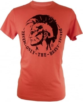 Diesel Orange Ulysee Large Logo Crew Neck T-shirt