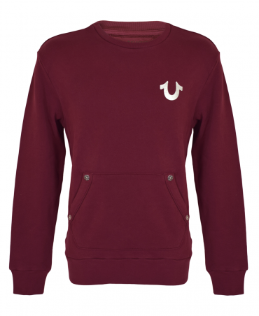 Oxblood With Smiling Silver Buddha Sweatshirt