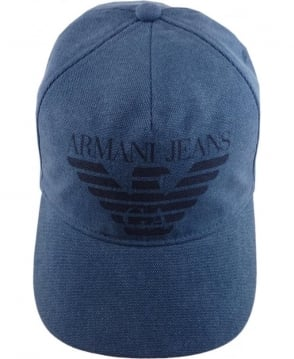 Armani Jeans Pastel Blue Logo Print Cap