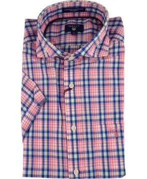 Gant Pink Albatross Linen Blend Short Sleeve Shirt