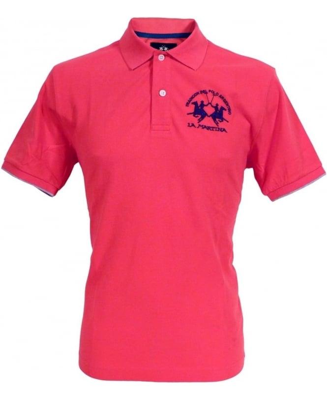 La Martina Pink HMP001 Large Logo Polo