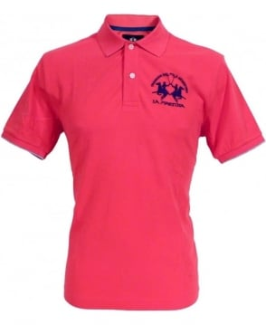 La Martina Pink HMP001 Large Logo Polo