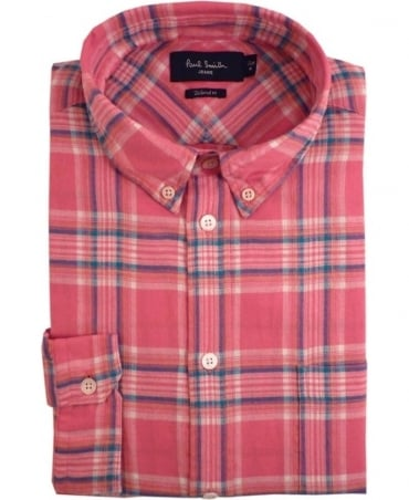 Paul Smith  Pink JPFJ-633P-D42 Brushed Cotton Plaid Shirt