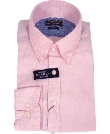 Hackett Pink Linen Slim Fit Brompton Shirt