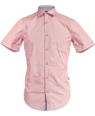 Hugo Boss Pink Marco 3 50264197 Vertical Stripe Short Sleeve Shirt