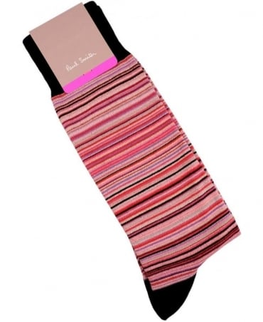 Paul Smith - Accessories Pink Multi Signature Stripe COAM-380A-F599A Socks