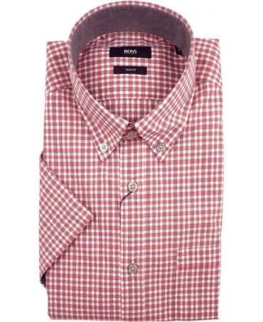 Hugo Boss Pink Roddy_21P 50308439 Gingham Check Short Sleeve Shirt