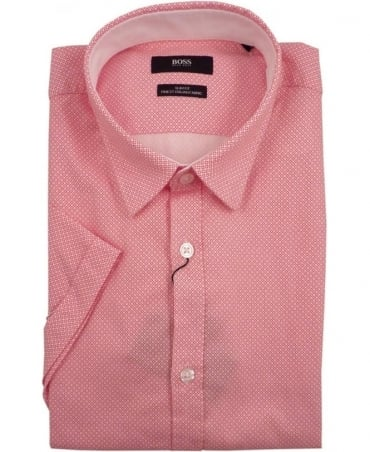 Hugo Boss Pink Ronn_1 All Over Pattern Short Sleeve Shirt