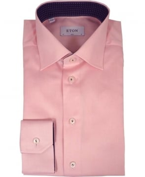 Eton Shirts Pink Solid Twill Shirt