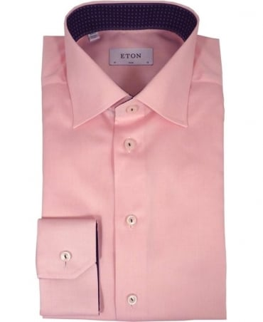 Eton Shirts Pink Solid Twill Shirt