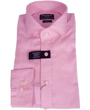 Hackett Pink Washed Textured Weave Kent Shirt