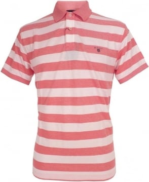 Gant Pink & White 222108 Barstripe Oxford Pique Polo