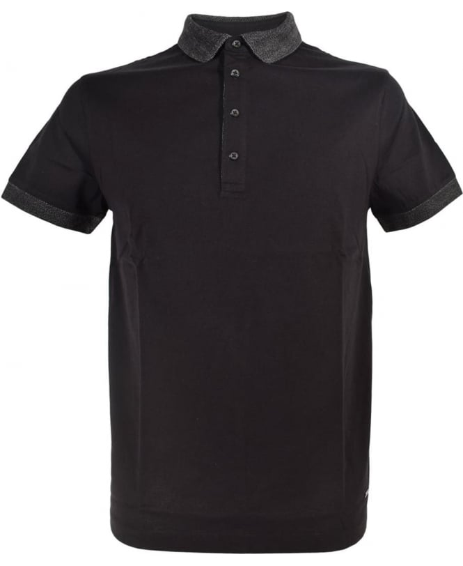 Hugo Boss 'Pinto' Polo Shirt In Black With Contrasting Collar