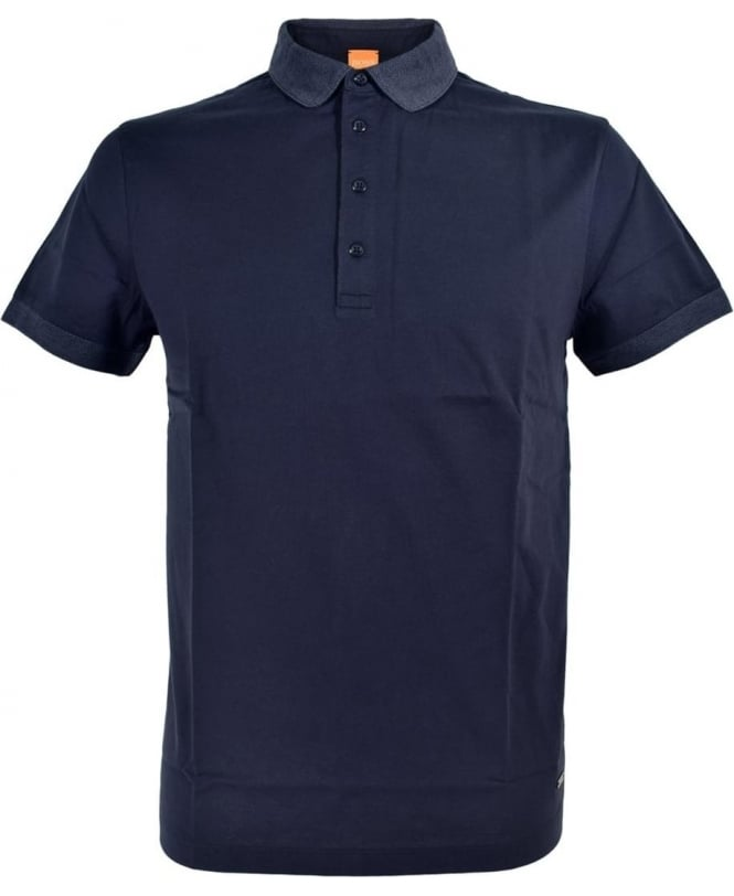 Hugo Boss 'Pinto' Polo Shirt In Navy With Contrasting Collar