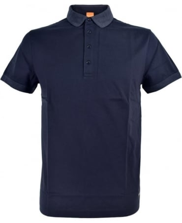 'Pinto' Polo Shirt In Navy With Contrasting Collar