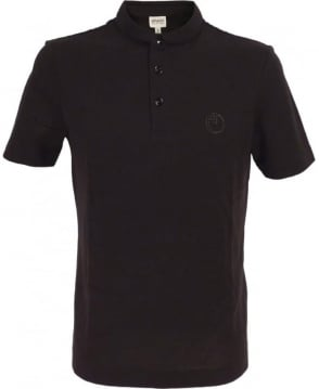 Armani Polo Shirt With Stitched Down Collar In Black