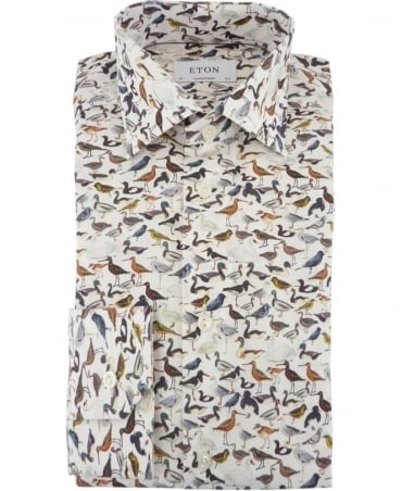 Eton Shirts Poplin Contemporary Fit Shirt With A Bird Print Design
