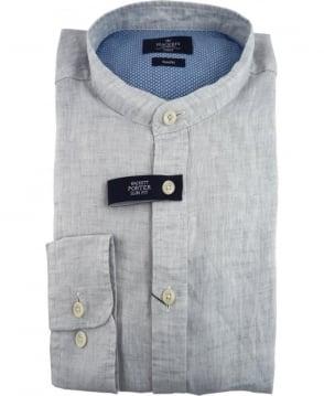 Hackett Porter Plain Dyed Linen Shirt In Grey