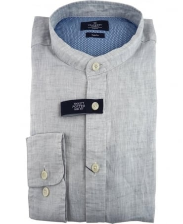 Hackett Porter Plain Dyed Linen Shirt In Grey