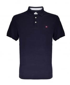 Hackett Print Collar Short Sleeved Polo Shirt In Navy