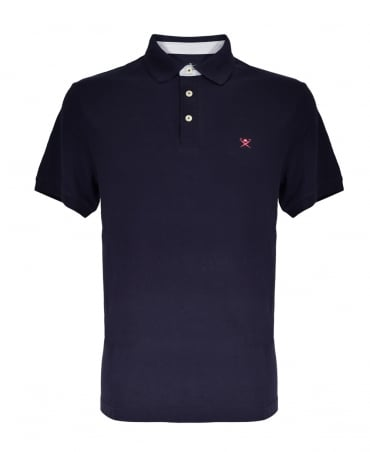 Print Collar Short Sleeved Polo Shirt In Navy