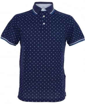 Hackett Printed Polo Shirt HM561200 In Blue/White