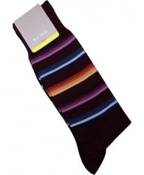 Paul Smith - Accessories Purple ANXA-380A-F918 Mondograde Stripe Socks