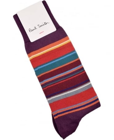 Paul Smith  Purple ARXC-380A-K281 Val Stripe Socks