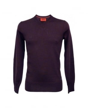 Hugo Purple Sacarilo v-Neck Jumper