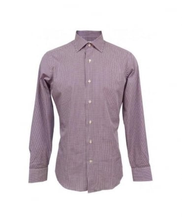Bonser Purple Small Gingham Slim Fit Montego Shirt