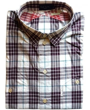 Paul Smith  Purple & White Check 2 Button Pockets Shirt