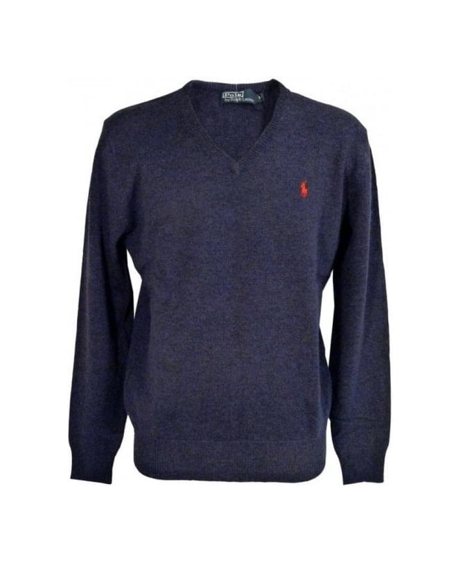 Ralph Lauren Navy Heather Lambswool Jumper