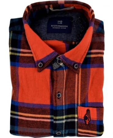 Scotch & Soda Red 101420 Brushed Cotton Check Shirt