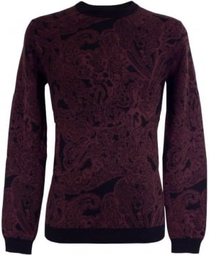 Hugo Red 50299489 Spaisley Black Rimmed Crew Neck Knitwear