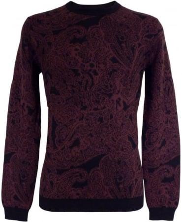 Hugo Red 50299489 Spaisley Black Rimmed Crew Neck Knitwear