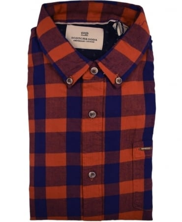 Scotch & Soda Red and Blue Brushed Cotton Shirt