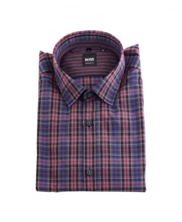 Hugo Boss Red and Navy Check Lorenzo Shirt