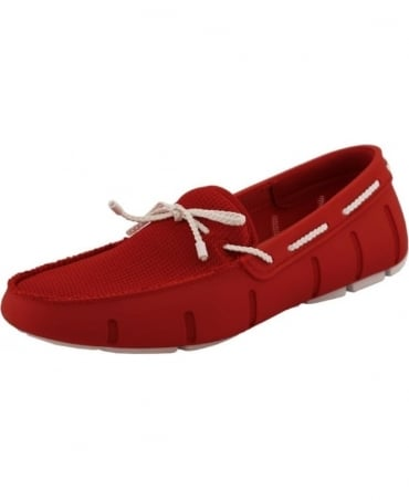 Swims Red And White Braided Lace Up Loafer