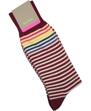 Paul Smith  Red APXA-800E-K138 PS Fine Stripe Socks