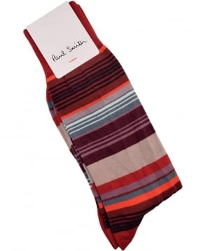 Paul Smith  Red ARXC-380A-K272 Jess Stripe Socks