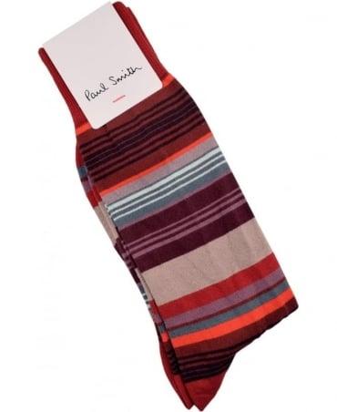 Paul Smith  Red ARXC-380A-K272 Jess Stripe Socks