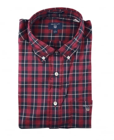 Red Check Heather Pinpoint Oxford Shirt