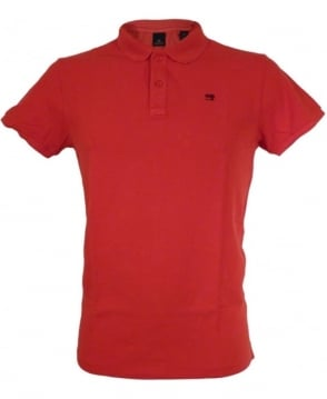 Scotch & Soda Red Dyed Logo Polo Shirt