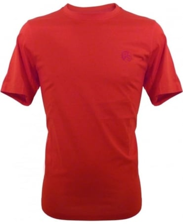 PS by Paul Smith Red Flocked PS Logo Crew Neck T-shirt